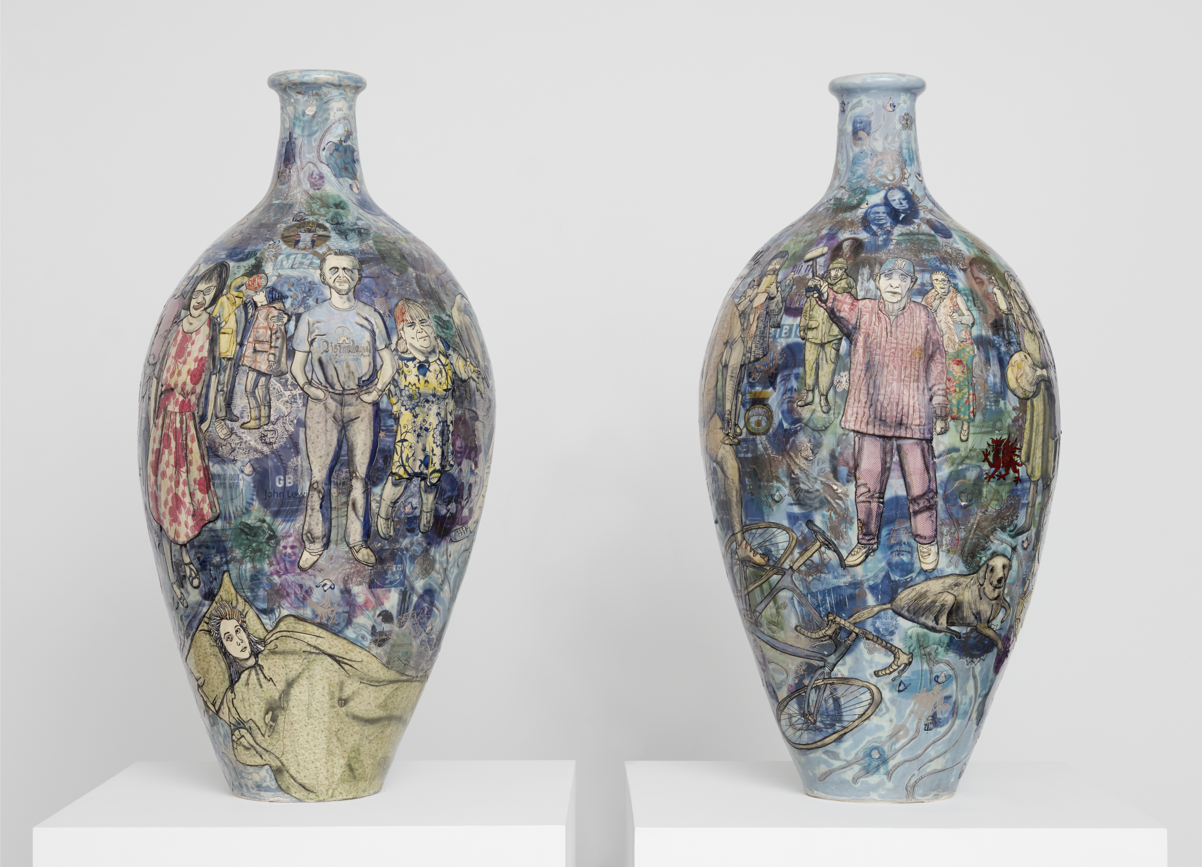 Grayson Perry Matching Pair, 2017 Glazed ceramic Diptych Each: 105 x 51 cm Courtesy the artist and Victoria Miro, London (photograph Robert Glowacki) © Grayson Perry