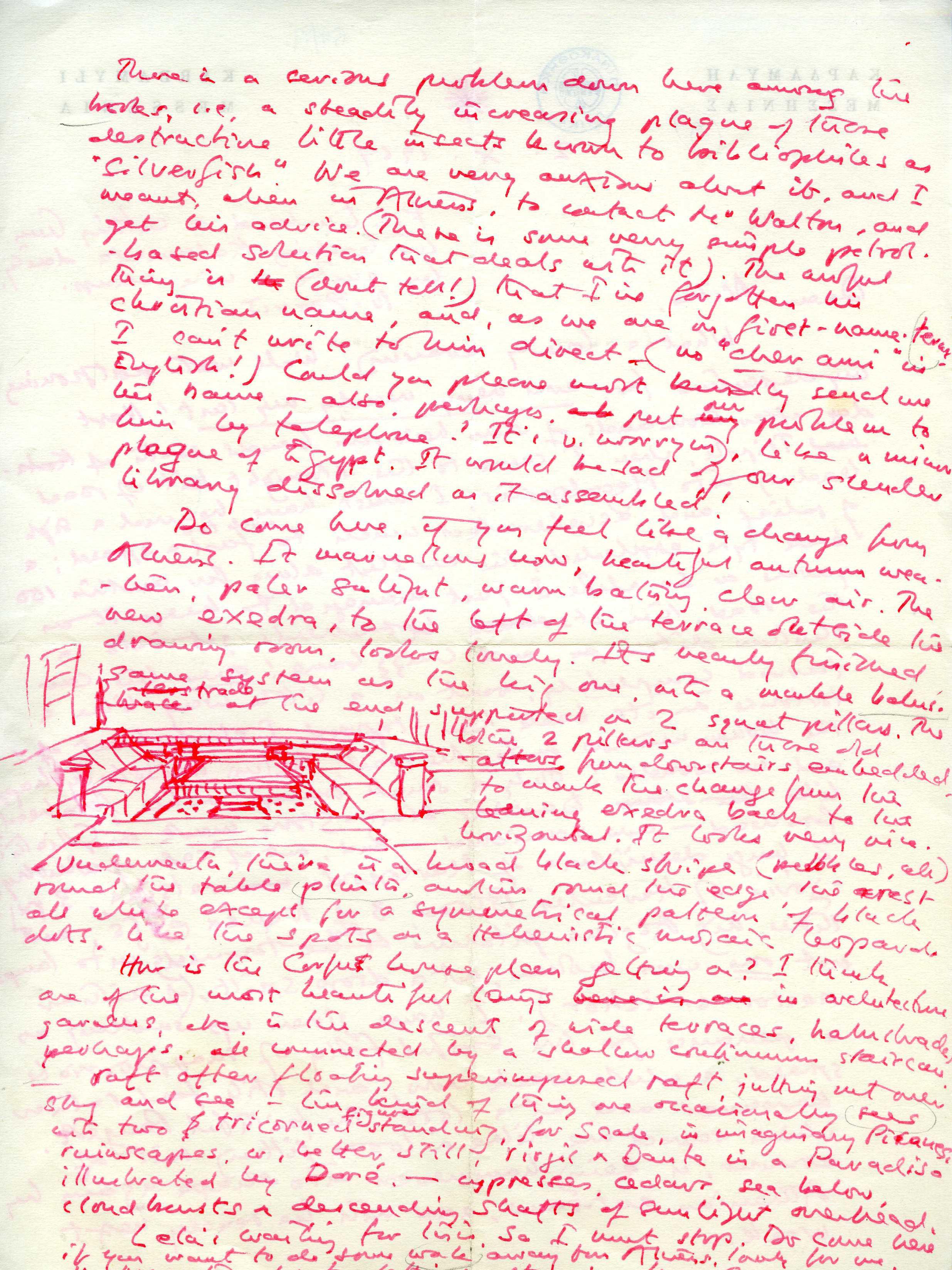 Επιστολή του P. Leigh Fermor στον Ν. Χ. Γκίκα, 2 Οκτωβρίου 1969, Μουσείο Μπενάκη – Πινακοθήκη Γκίκα, Αρχείο Εγγράφων © 2017 The Estate of Patrick Leigh Fermor