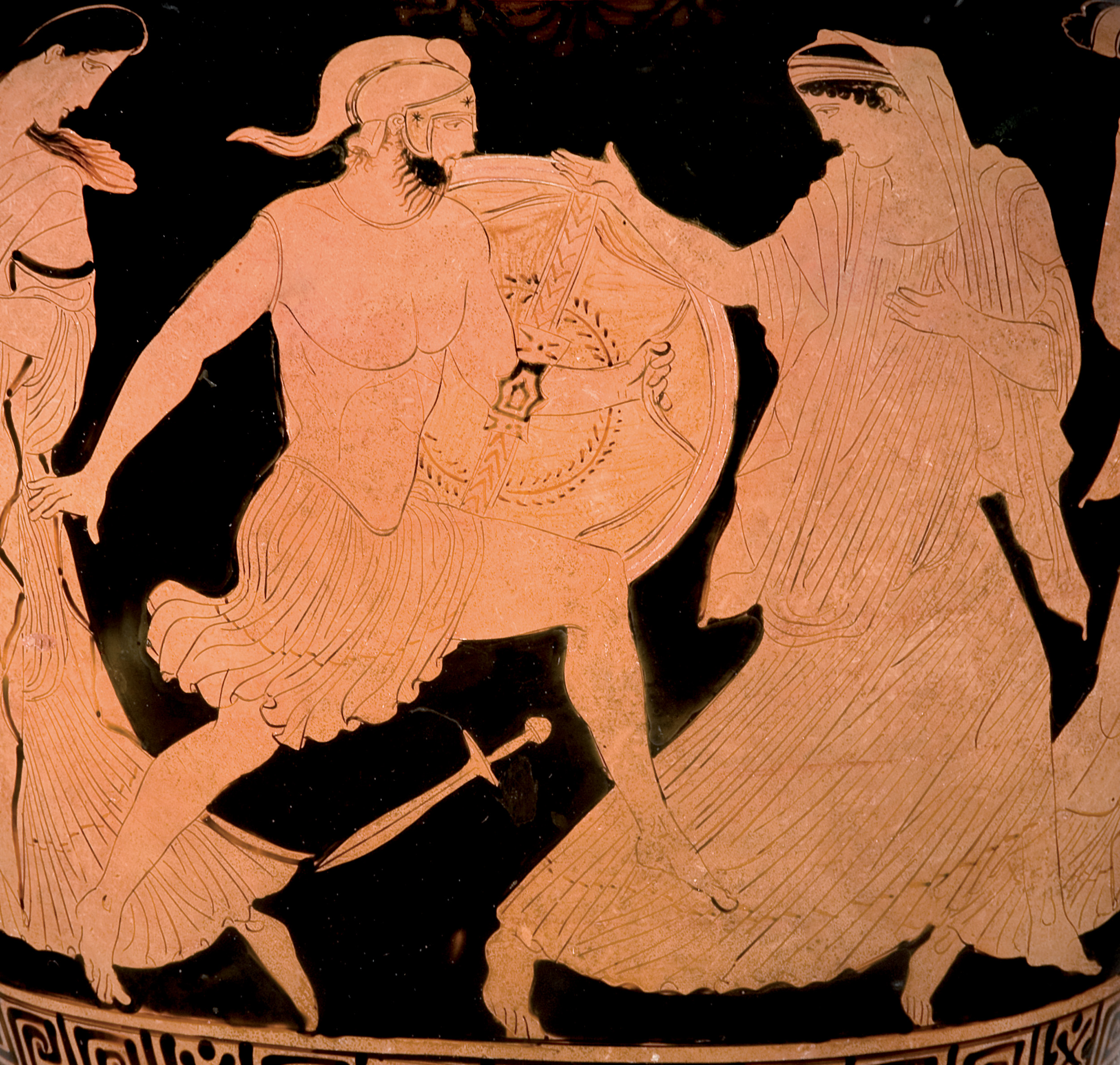 Ερυθρόμορφος αμφορέας με λαιμό, με παράσταση του Μενέλαου και της Ελένης περ. 430–420 π.Χ. Αποδίδεται στον Ζωγράφο του Κλεοφώντος Αττική Βασιλεία, Antikenmuseum Basel und Sammlung Ludwig
