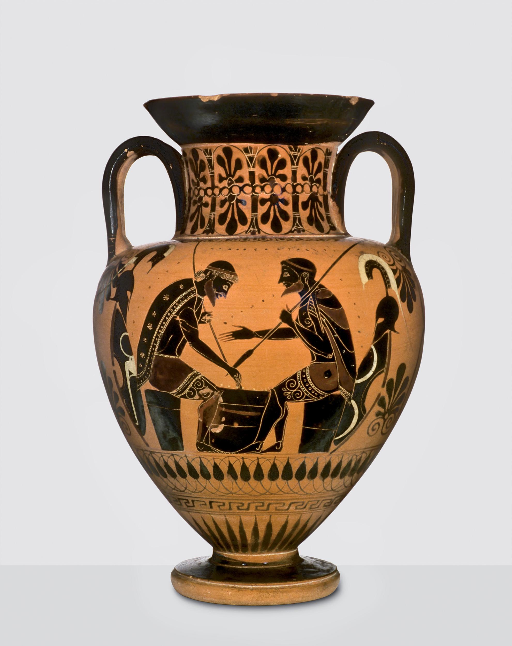 Μελανόμορφος αμφορέας με παράσταση του Αχιλλέα και του Αίαντα που παίζουν επιτραπέζιο παιχνίδι περ. 540 π.Χ. Vulci Βασιλεία, Antikenmuseum Basel und Sammlung Ludwig