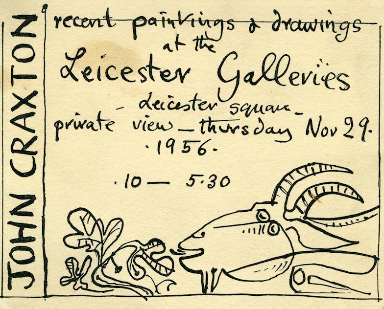 Χειροποίητη πρόσκληση του John Craxton προς τον Γκίκα για τα εγκαίνια της έκθεσης του Craxton στα Leicester Galleries το Νοέμβριο του 1954, Μουσείο Μπενάκη — Πινακοθήκη Γκίκα, Αρχείο Εγγράφων, Αθήνα