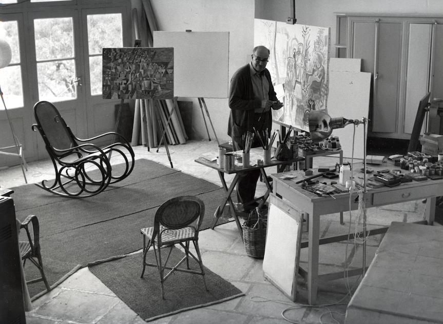 Ο Ν. Χ.-Γκίκας στο ατελιέ του στην Ύδρα, 1960 Φωτογραφία: Wolfgang Suschitzky, Μουσείο Μπενάκη – Πινακοθήκη Γκίκα, Φωτογραφικό Αρχείο, Αθήνα, Δωρεά Wolfgang Suschitzky