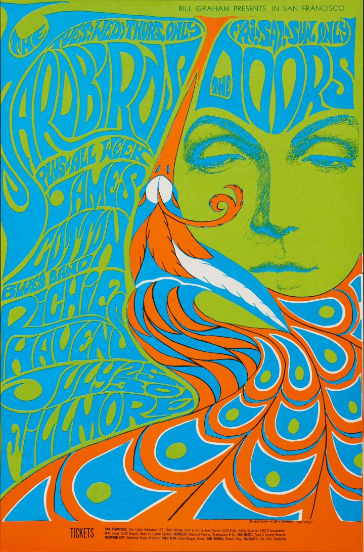 Bonnie MacLean, Yardbirds, The Doors, James Cotton Blues Band, Richie Havens, July 25–30, Fillmore Auditorium, 1967. Color offset lithograph poster. Fine Arts Museums of San Francisco, Museum purchase, Achenbach Foundation for Graphic Arts Endowment Fund, 1972.53.103. © Bill Graham Archives, LLC. All Rights Reserved
