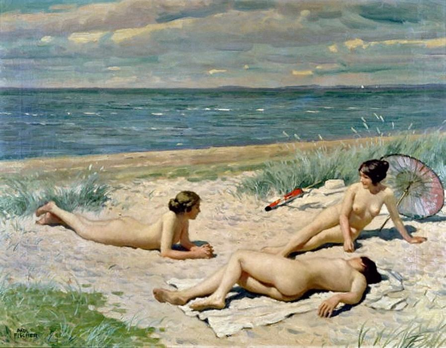 Bathers on a beach, Paul Gustave Fischer