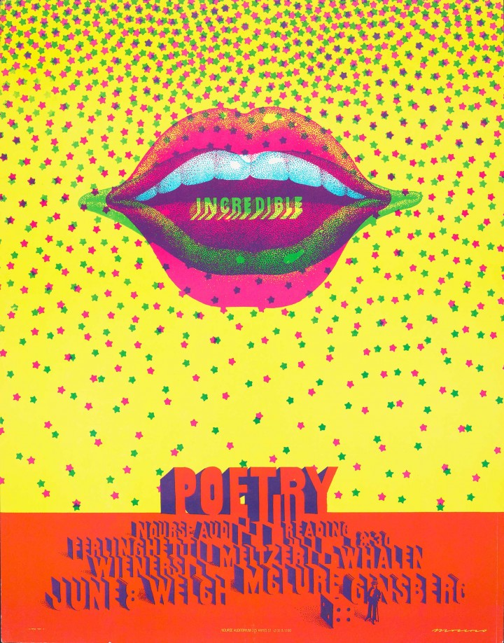 Victor Moscoso, 'Incredible Poetry Reading', Ferlinghetti, Wieners, Meltzer, Whalen, Welch, McClure, Ginsberg, June 8, Nourse Auditorium, 1968. Color offset lithograph poster. Fine Arts Museums of San Francisco, Gift of Gary Westford, L16.32.28. © Victor Moscoso