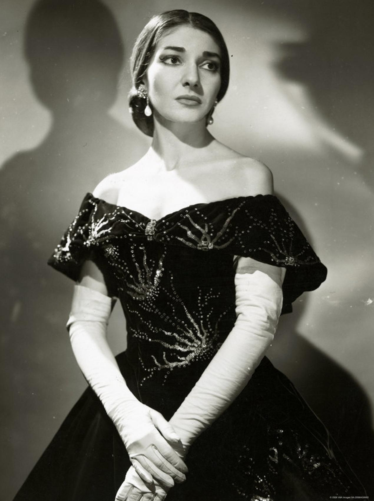 Publicity photo of Maria Callas (1923 – 1977) as Violetta in La Traviata at the Royal Opera House (1958) by photograph Houston Rogers