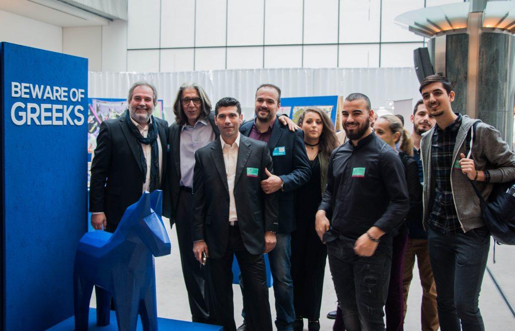 Οι καθηγητές και οι φοιτητές από το ΤΕΙ Καρδίτσας με τον Κωνσταντίνο Μπιτσάνη