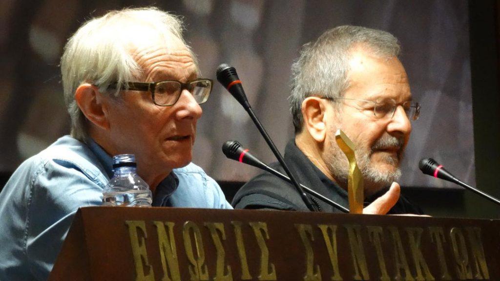 Ο Κεν Λόουτς μαζί με τον καλλιτεχνικό διευθυντή του φεστιβάλ Νίνο Φενέκ Μικελίδη ©Πάνος Μουζάκης, Α.Ρ.Λ