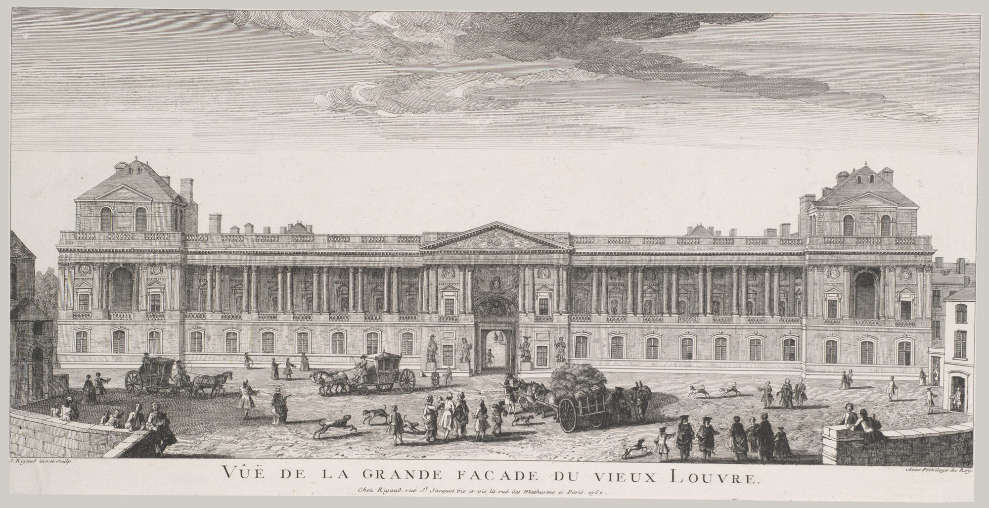 View of the Grand Facade of the Louvre