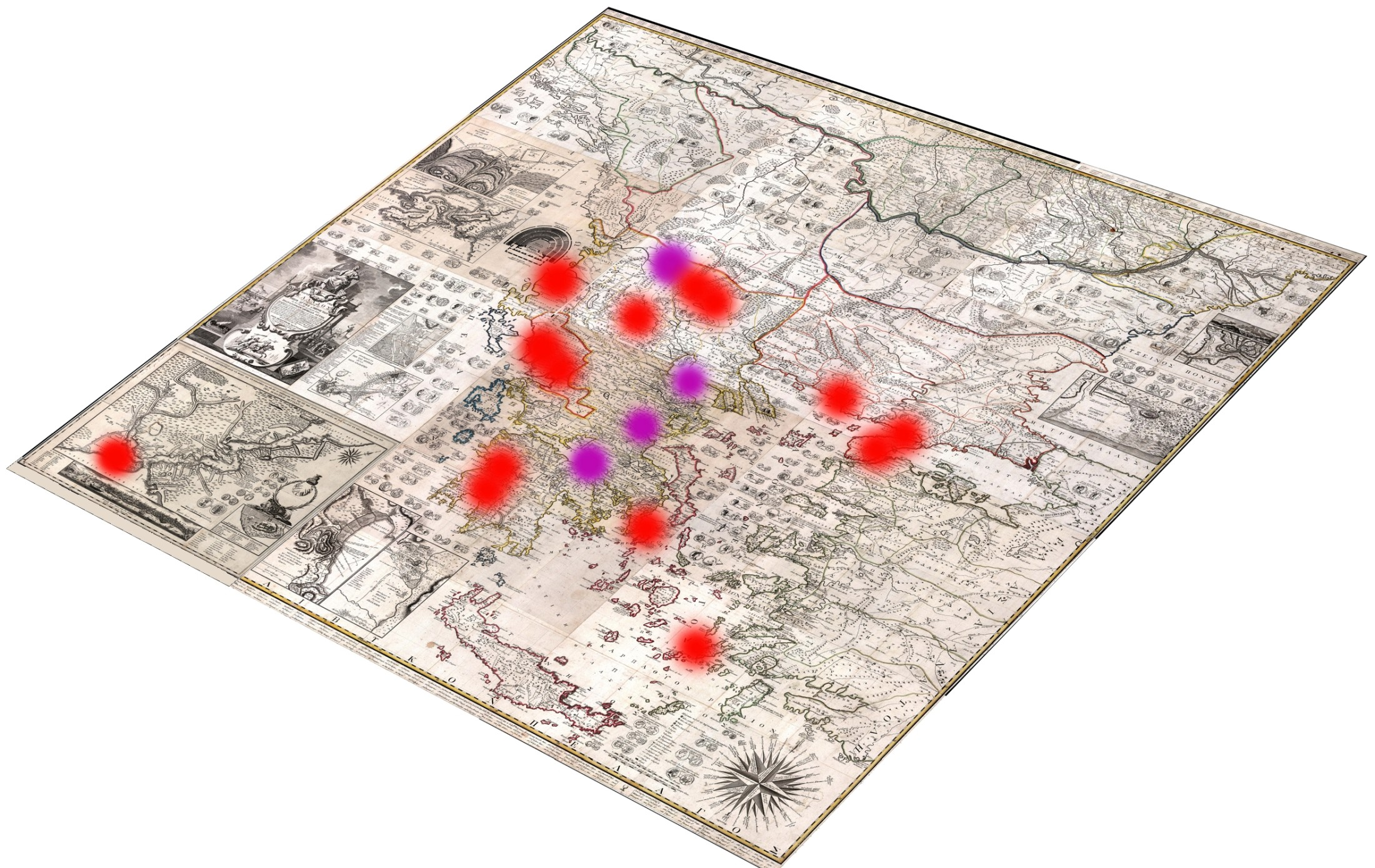 H Xάρτα του Ρήγα Βελεστινλή της Τρικογλείου Βιβλιοθήκης ΑΠΘ, με σημειωμένες τις είκοσι διαφορές των δύο τυπολογιών της και των παραλλαγών τους