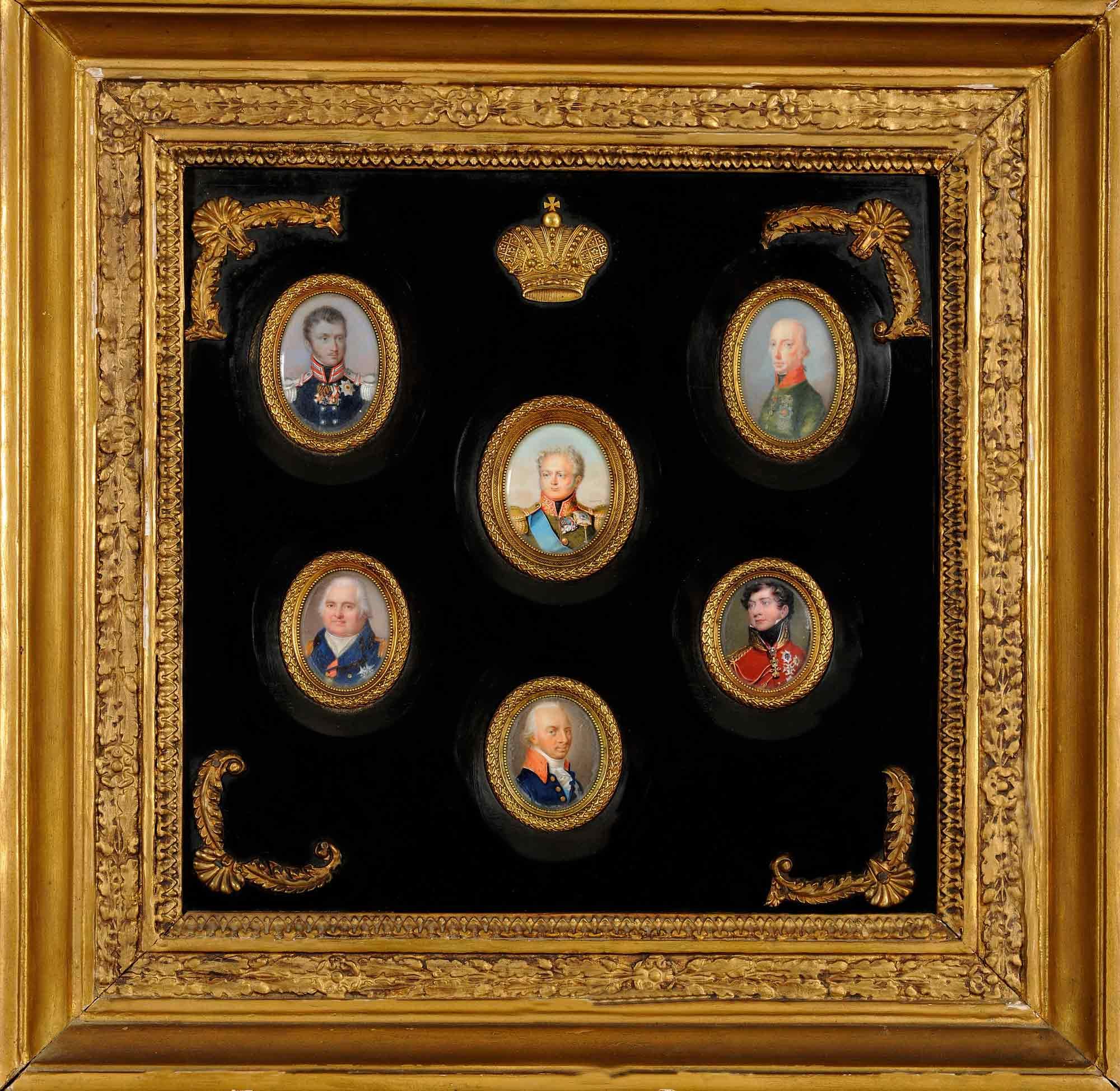 Πίνακας με έξι μικρές προσωπογραφίες των σημαντικότερων ηγεμόνων που έλαβαν μέρος στο Συνέδριο της Βιέννης - Συλλογή Μουσείου Καποδίστρια ΜΚ193