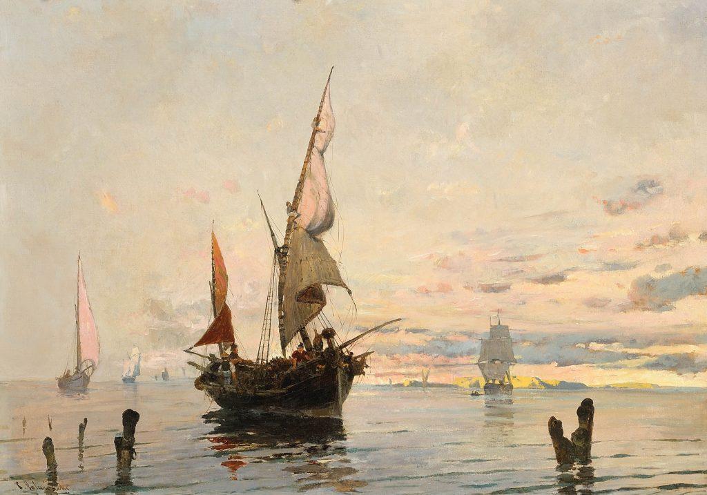 Καράβια, καΐκια και βάρκες, Φέρνοντας την ψαριά, 1880-1882, Λάδι σε καµβά, 54 χ 74 εκ. Ιδιωτική συλλογή
