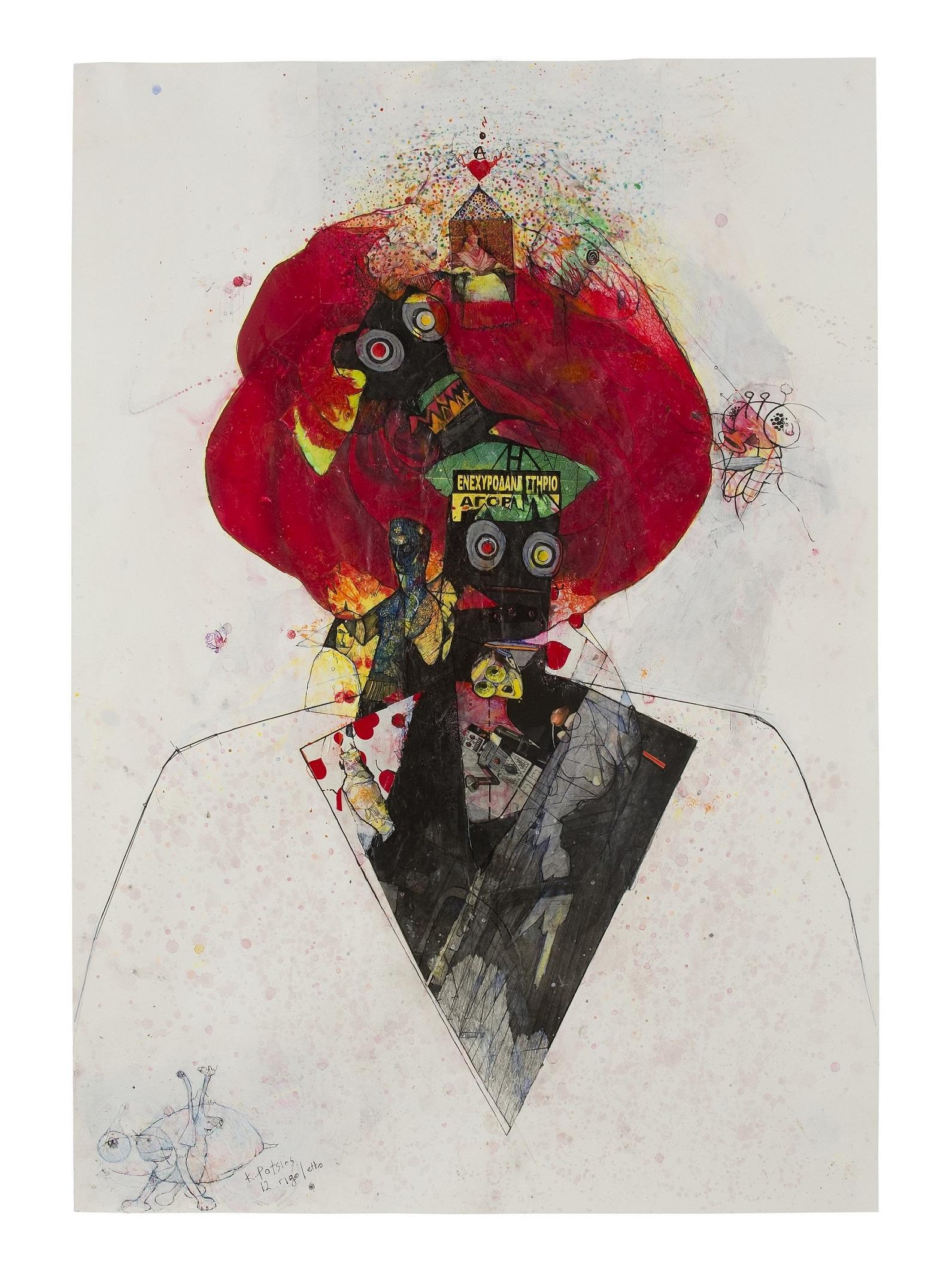 Κωνσταντίνος Πάτσιος, Μέσα στη σύγχυση της φυγής ,70x100cm,mixed media on paper, 2015