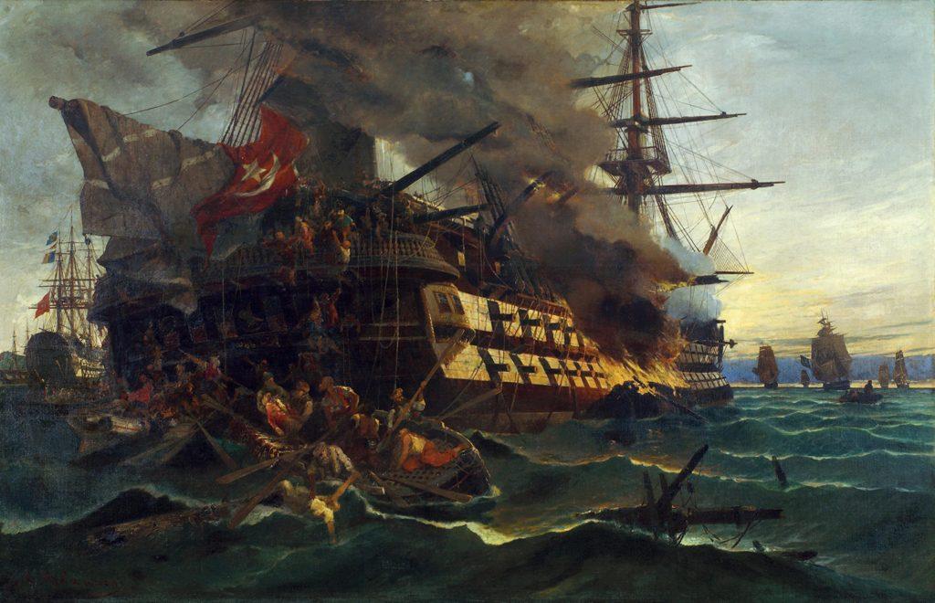 Ιστορικά ναυτικά θέµατα, Η πυρπόληση του τουρκικού δικρότου στην Ερεσσό, 1882, Λάδι σε καµβά, 110 χ 150 εκ. Συλλογή Ναυτικού Μουσείου της Ελλάδος
