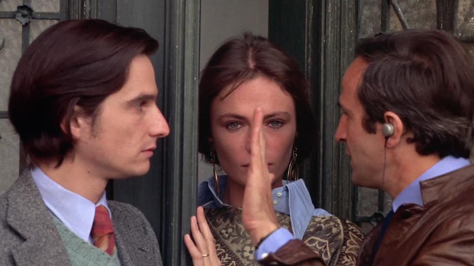 Jean-Pierre Léaud, Jacqueline Bisset και François Truffaut in François Truffaut's στο γύρισμα της ταινίας 'La Nuit américaine' (1973)