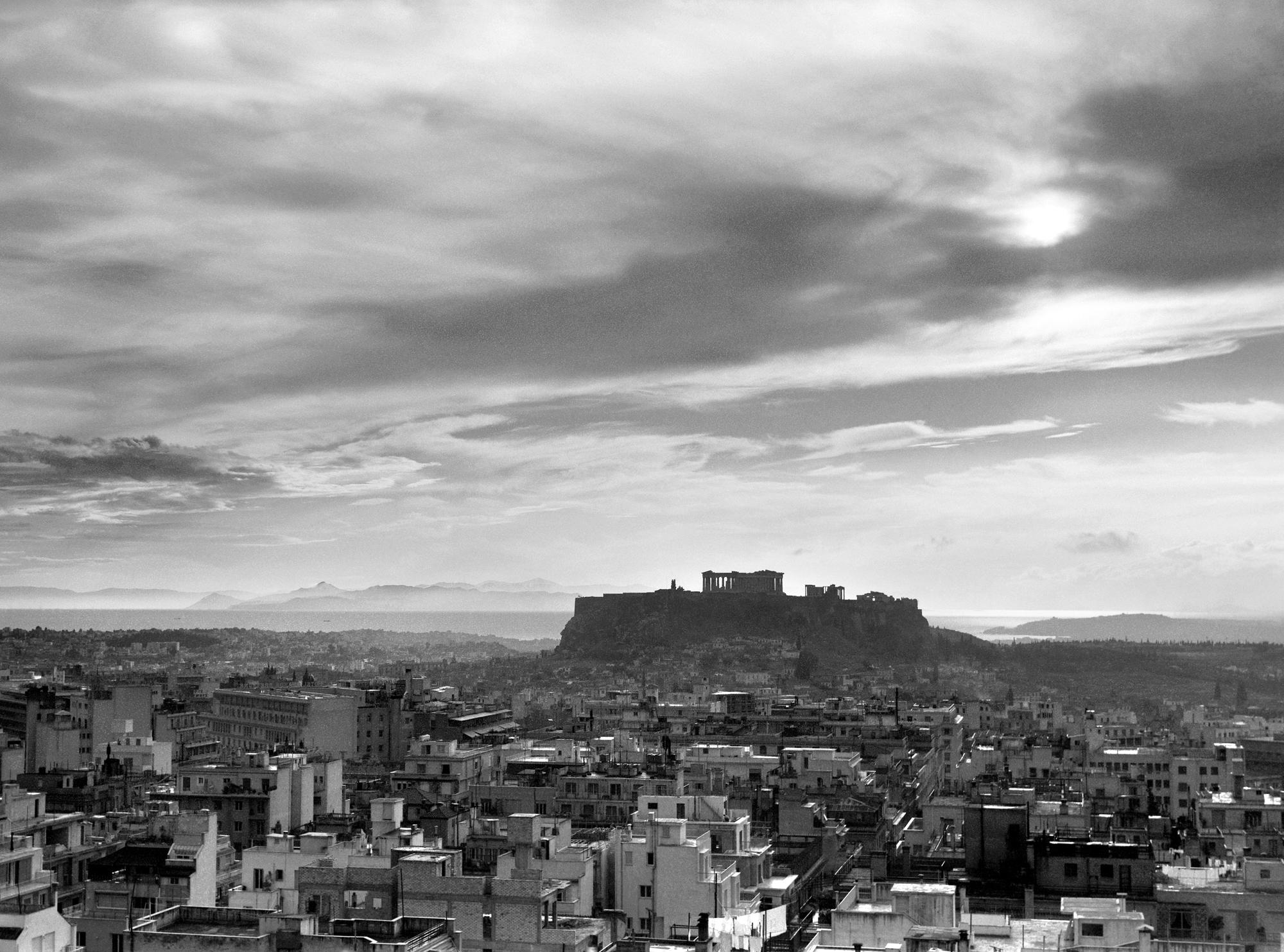 Ιωάννης Λάμπρος, Πανοραμική άποψη της Αθήνας με την Ακρόπολη στο βάθος, 1960