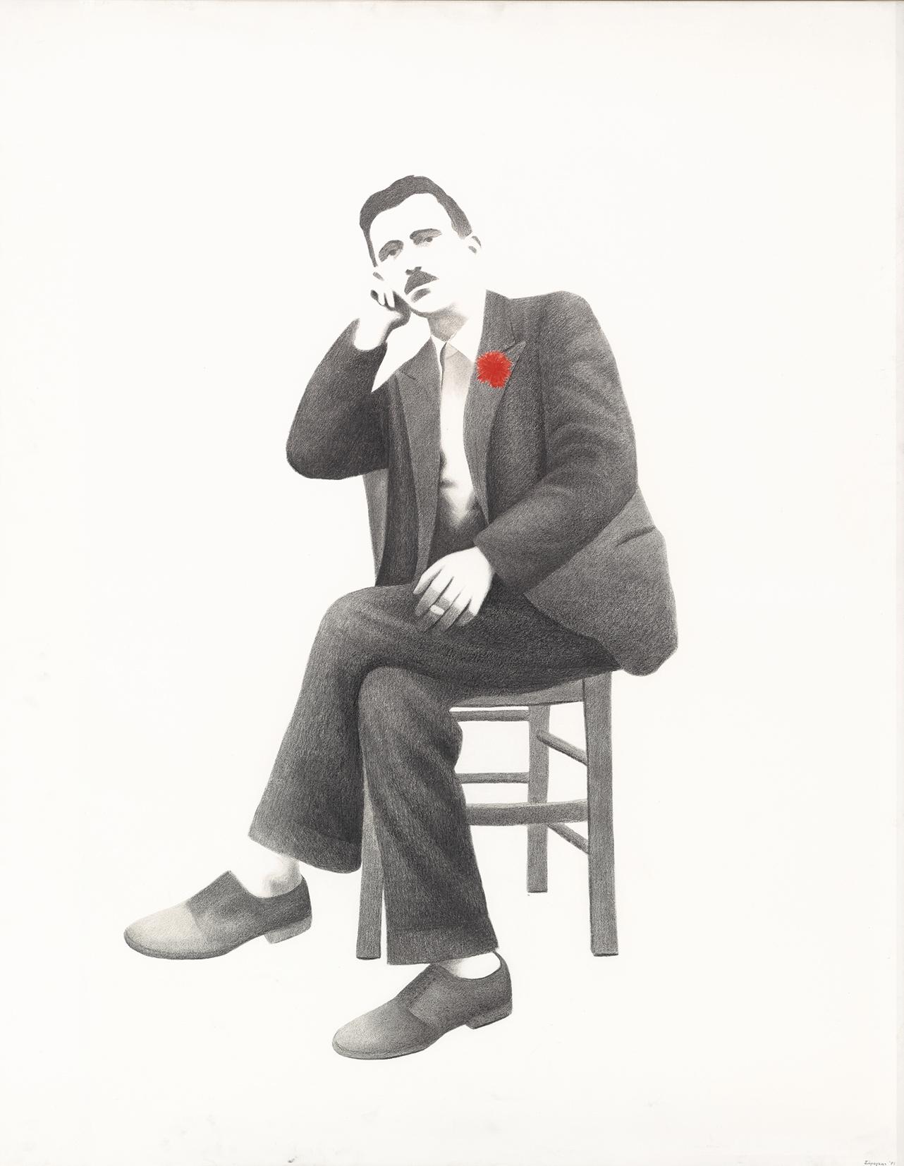 Καθιστός άνδρας [τρίπτυχο, μέρος Α], 1971, ακρυλικό και κάρβουνο σε καμβά, 162Χ130 εκ.