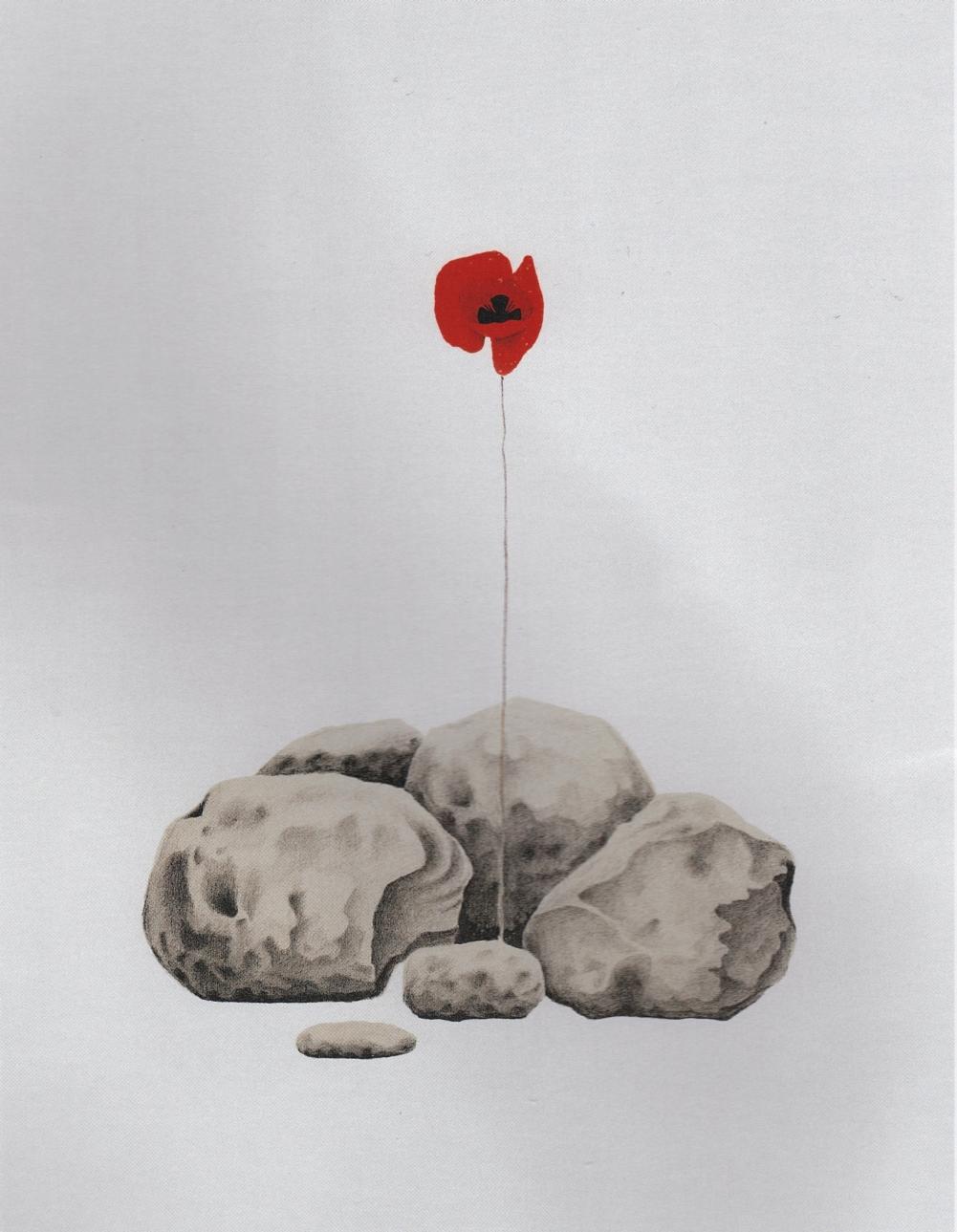 Πέτρες και παπαρούνα, 1972, λιθογραφία, 63Χ50 εκ.