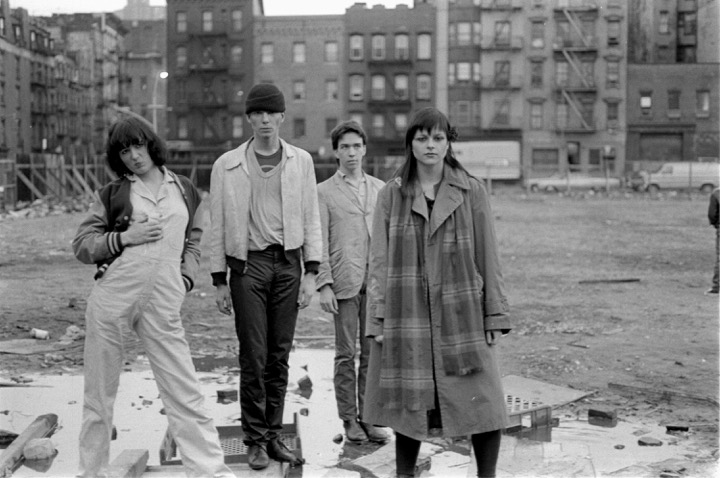 Youth against Death. 1980. Photograph by Katherine Dumas. From left: Nancy Ulrich, Scott Covert, Frank Holliday, and Natalya Maystrenko. Courtesy the Estate of Katherine Dumas.