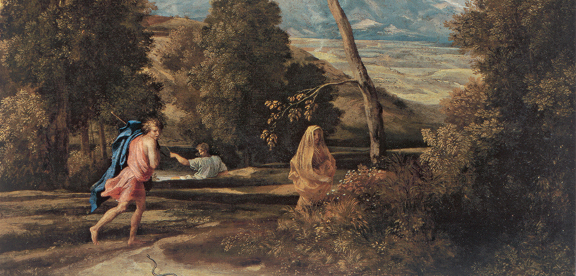 Poussin - Feldman_02: Νικολά Πουσέν «Τοπίο με Άνδρα καταδιωκόμενο από Φίδι». Λάδι σε μουσαμά, 65 x 76 εκ. The Montreal Museum of Fine Arts