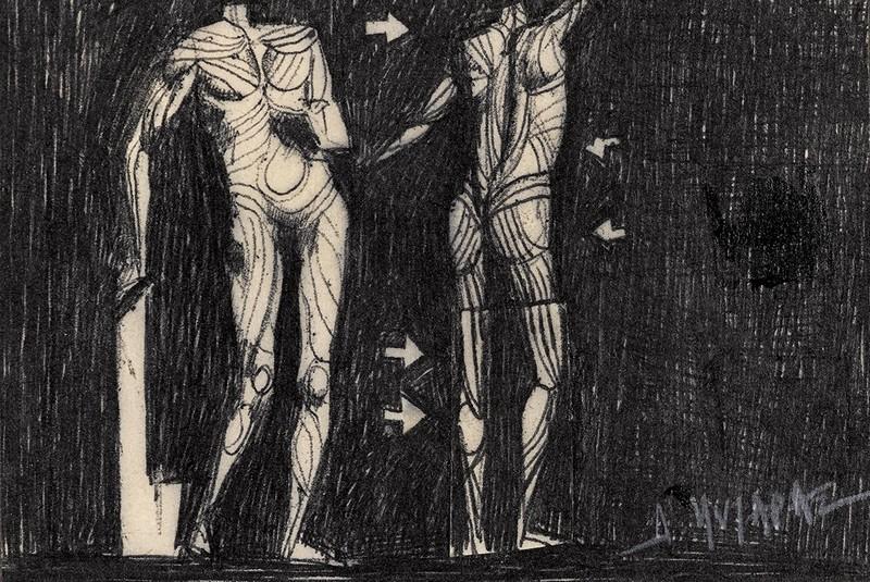 Ανατομίες, π. 1969 Μαύρο στυλό σε χαρτί 7,5 Χ 11,5 εκ. Ιδιωτική συλλογή