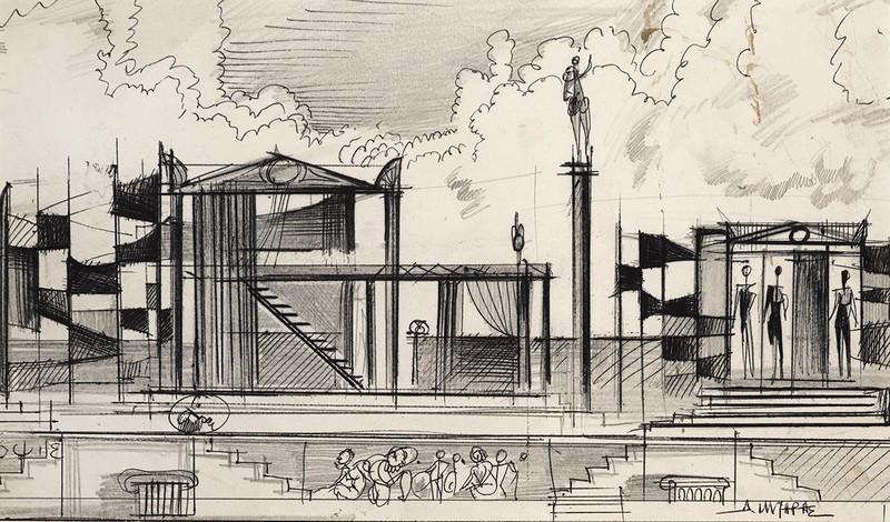 Μακέτα σκηνικού «Οι Εκκλησιάζουσες», Κ.Θ.Β.Ε., 1969 Μελάνι σε χαρτί 22 Χ 34 εκ. Ιδιωτική συλλογή