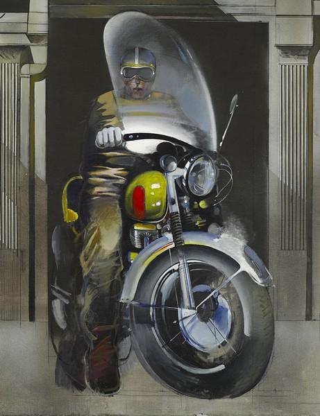 Μοτοσυκλετιστής, 1970-74 Ακρυλικό σε λινάτσα 210 Χ 164 εκ. Παραχώρηση από την γκαλερί Σκουφά