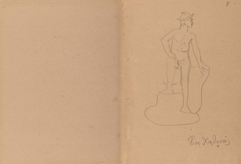 Ερμής καθιστός. Αδημοσίευτο σχέδιο (μολύβι σε χαρτί) του Γιανούλη Χαλεπά (από τον ιδιώτη Νικόλαο Δούκα)