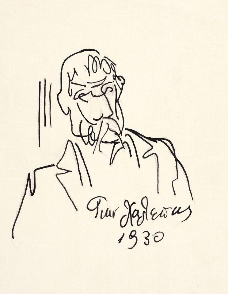 Αυτοπροσωπογραφία, 1930 Μελάνι σε χαρτί, 21,3 x 15,3 εκ. (ΕΠΜΑΣ 7050) © Εθνική Πινακοθήκη-Μουσείο Αλεξάνδρου Σούτσου, φωτ. Θάλεια Κυμπάρη