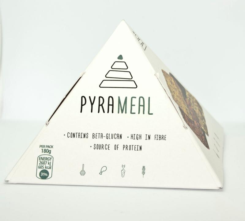 Η συσκευασία του προιόντος εμπνευσμένη από την Μεσογειακή πυραμίδα Διατροφής.