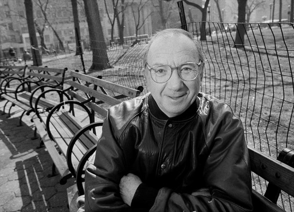 Neil Simon sitting in New York's Union Square Park in 1995. . - SARA KRULWICH , NYT