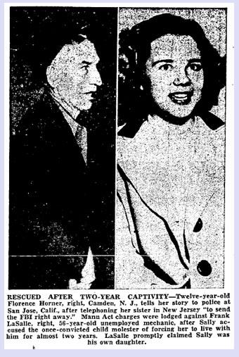 Φρανκ Λασάλ και Σάλι Χόρνερ σε εφημερίδα της εποχής.