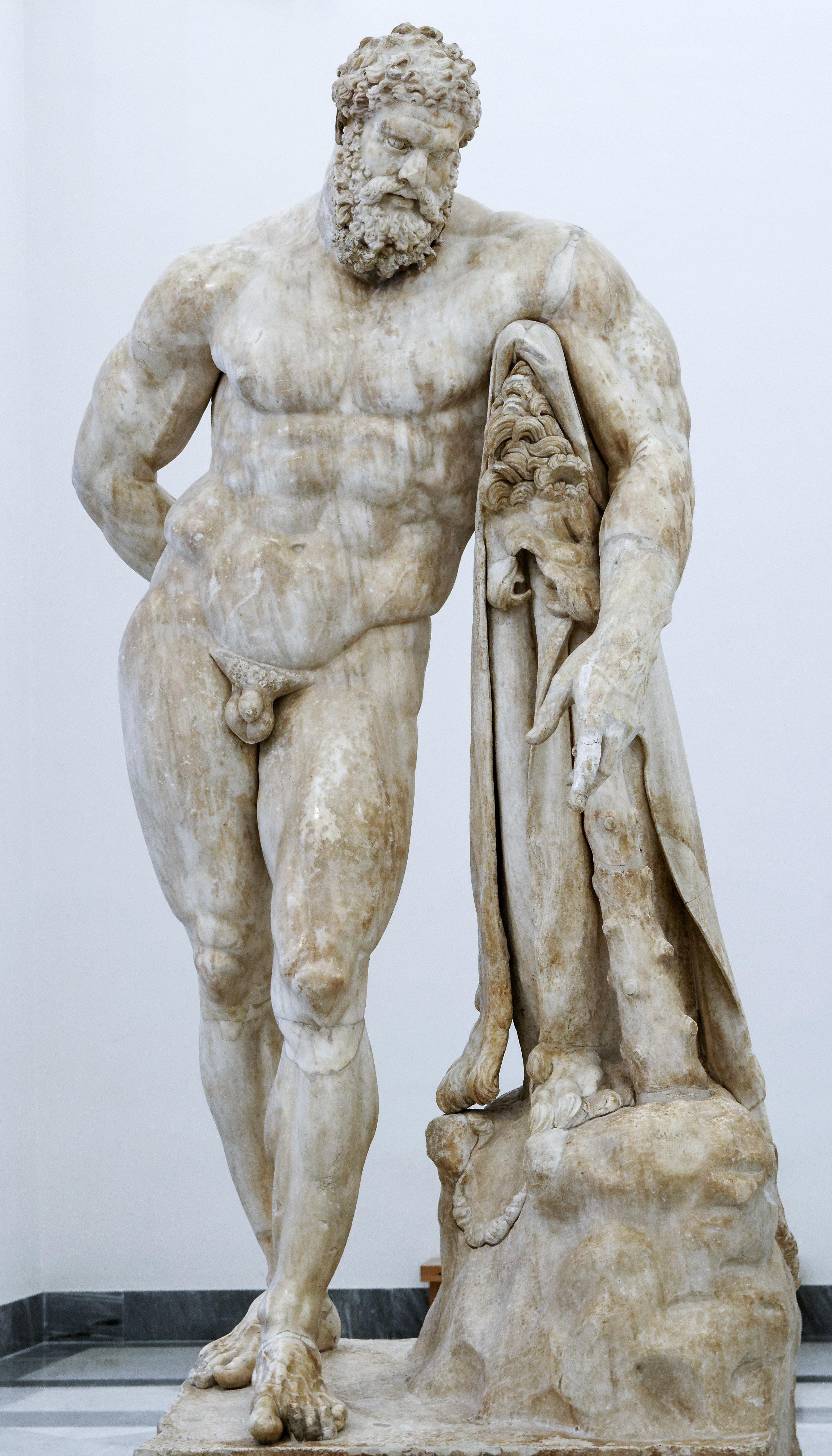 Άγαλμα του Ηρακλή. Ρωμαϊκό αντίγραφο των Αυτοκρατορικών χρόνων πρώιμου ελληνιστικού προτύπου. Αρχαιολογικό Μουσείο της Νάπολη, αρ. ευρ. 6001