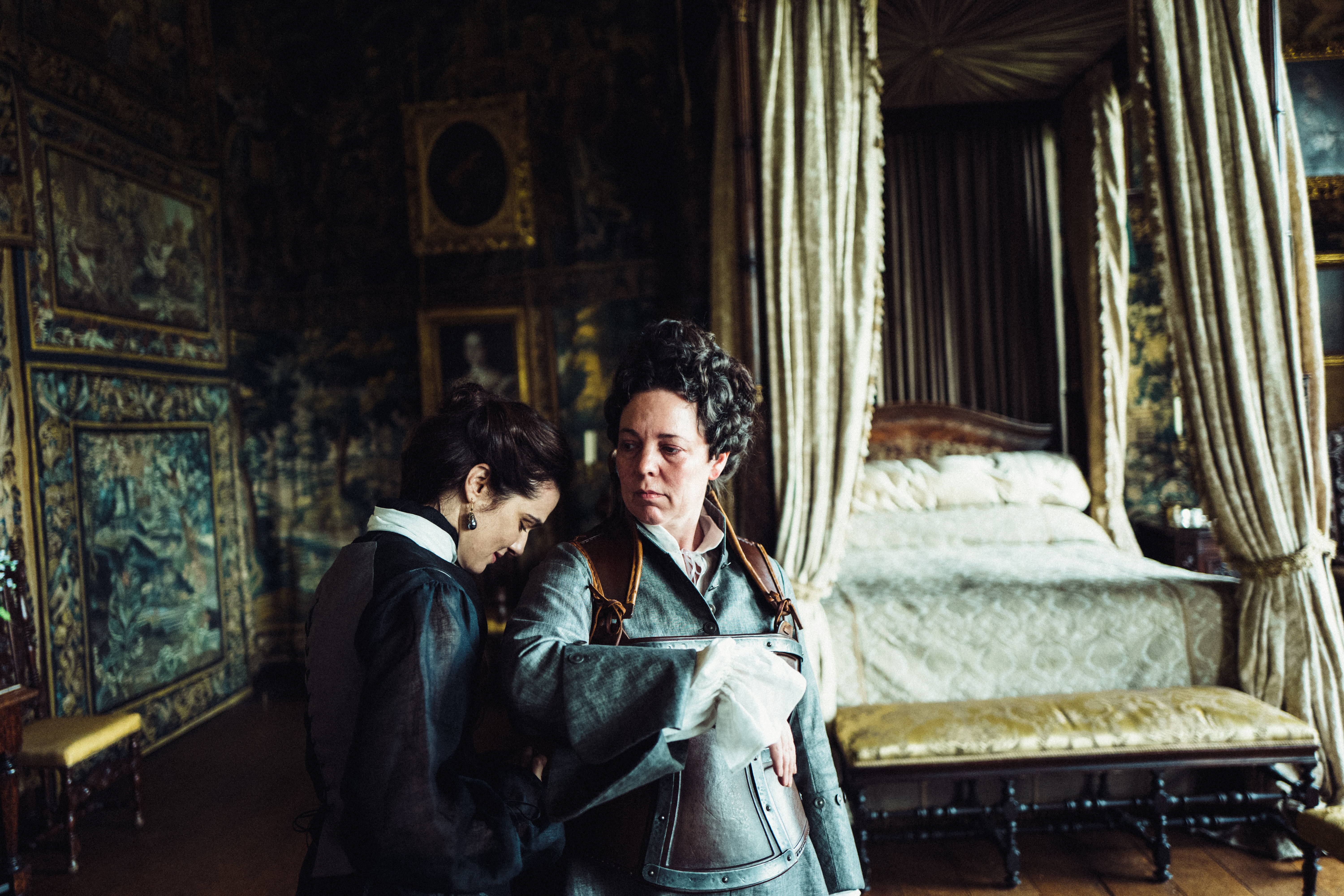 Rachel Weisz and Olivia Colman in the film THE FAVOURITE. Photo by Yorgos Lanthimos. © 2018 Twentieth Century Fox Film Corporation