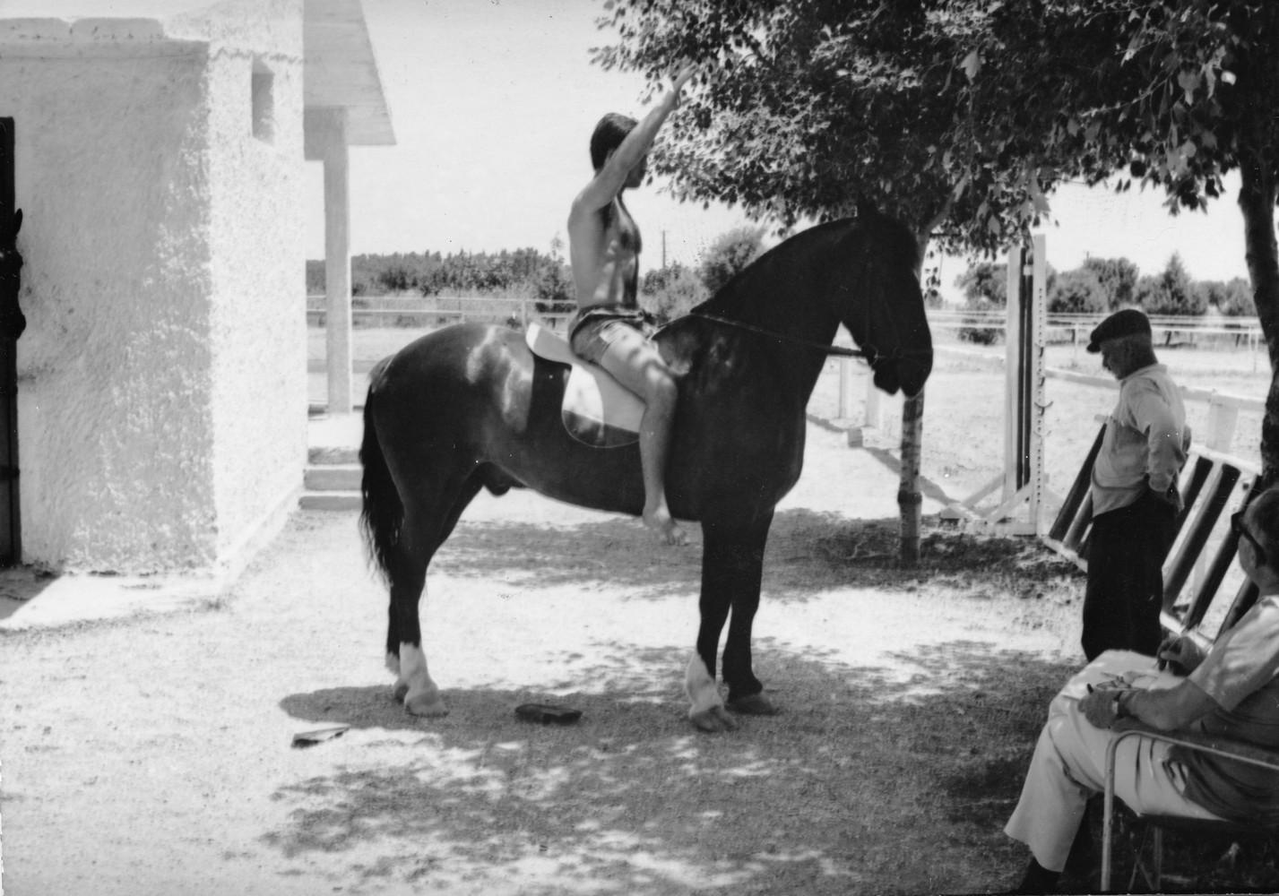 Φωτογραφία αλόγου με αναβάτη σε ιππικό όμιλο για τη μελέτη του έφιππου ανδριάντα του Μεγάλου Αλέξανδρου. Διακρίνεται και ο καλλιτέχνης.