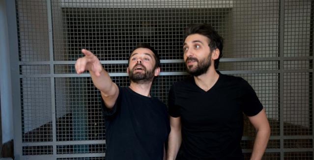 Ο Ανέστης Αζάς και ο Πρόδρομος Τσινικόρης στην Πειραματική Σκηνή -1 του Εθνικού θεάτρου
