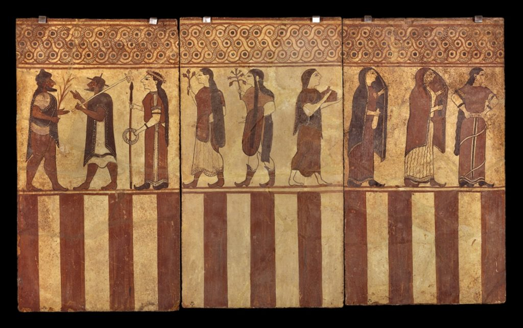 This Etruscan tomb-painting shows the Judgement of Paris. At the left, Paris awaits the three goddesses. Aphrodite, last of the three, lifts her dress to show off a flash of leg. On the right, Helen is approached by three women bringing jewellery and perfume.