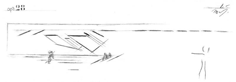 Κτίριο Μουσικής Ακαδημίας (Ωδείο Αθηνών), πρόταση αρχιτεκτονικού διαγωνισμού για το Πνευματικό Κέντρο Αθηνών, σκαρίφημα όψης, 1959.