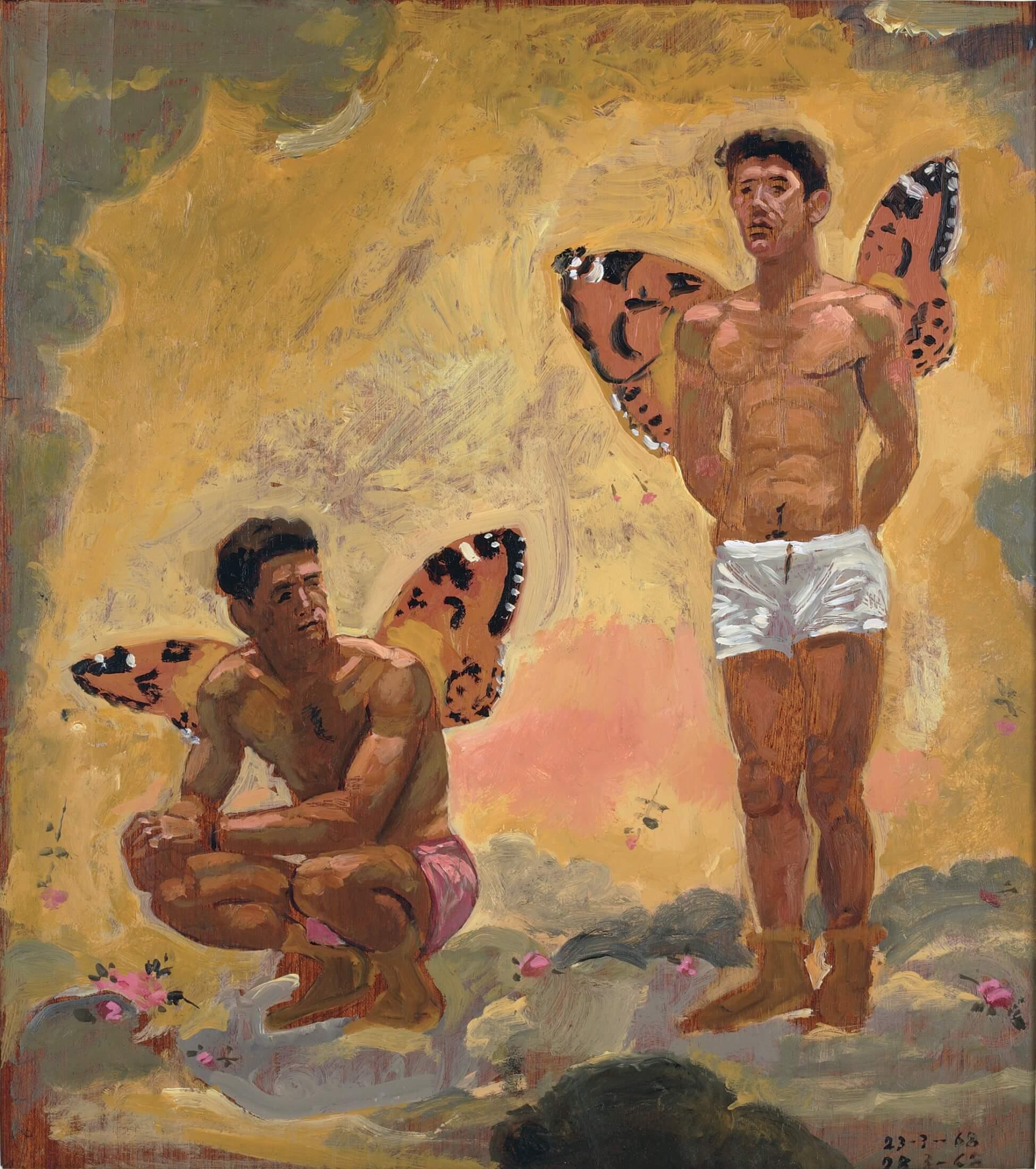 Δύο άνδρες με φτερά πεταλούδας, 1968 Λάδι σε καπλαμά, 44,5 Χ 39,4 Ίδρυμα Γιάννη Τσαρούχη, αρ. ευρ. 631